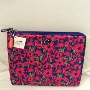 COACH Poppy Flower iPad Zip Sleeve Navy Multi